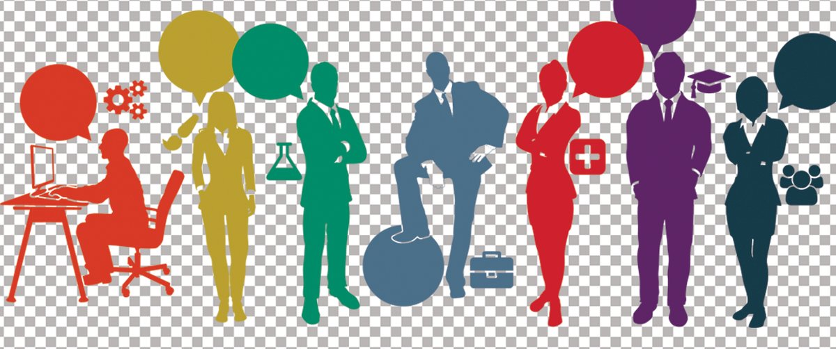 Silhouettes of people with colors and icons of our career communities